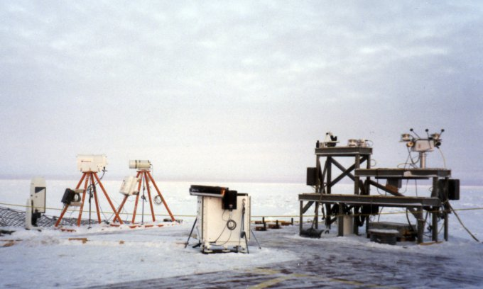ARM Atmospheric measurement instrument suite on the deck of the  De Groselliers