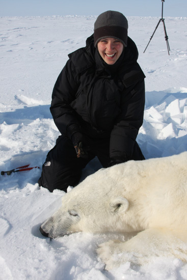 Kristin Laidre with Polar Bear