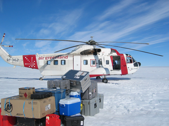 Camp Put In with an Air Greenland Sikorsky