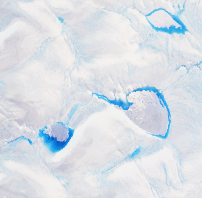 In this Landsat image from 30 July 2014 (dimensions 10 km x 10 km), three undrained lakes sit on top of the ice sheet in western Greenland.