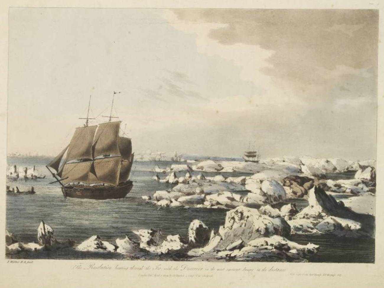 Etching of The Resolution sailing through ice.