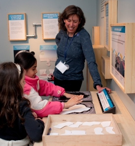 Polar scientist Bonnie Light looks on as visitors learn about albedo (reflectivity) through a hands-on activity. Image courtesy of Kim Reading, APL-UW.