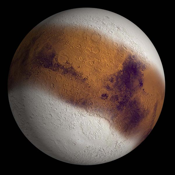 This simulated view shows Mars as it might have appeared during the height of a possible ice age in geologically recent time. Credit: NASA