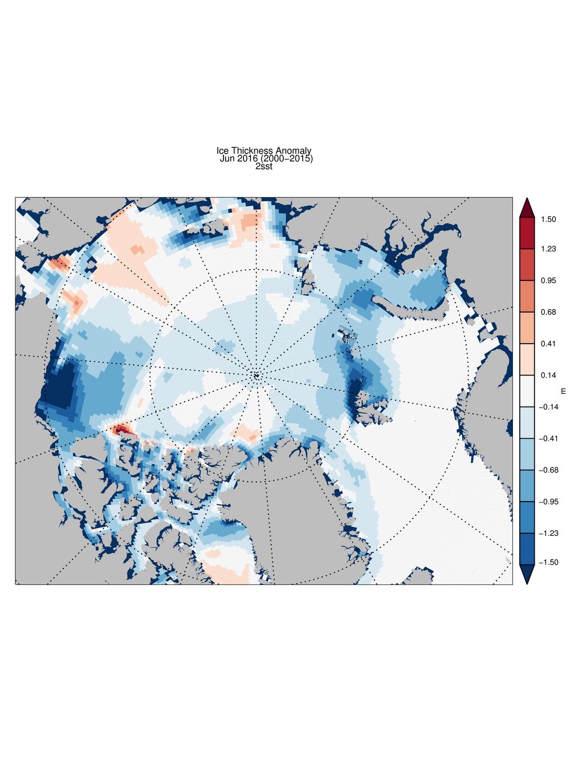 PIOMAS Ice Thickness Anomaly
