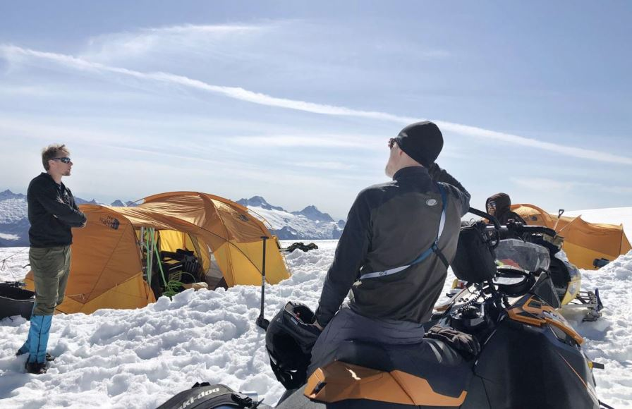 field engineer and transport guide at camp on Easton Glacier